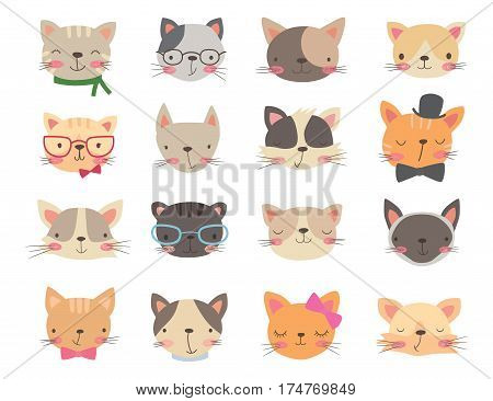 Cats heads set. Cartoon vector illustration on a white background