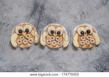 Funny owl with peanut butter, cereal and fruits banana apple on rice cake for kids breakfast
