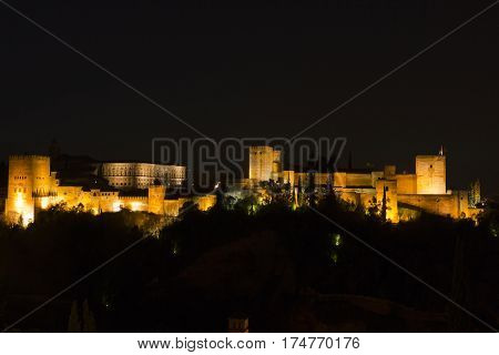 Magic Alhambra By Night. Granada, Andalusia, Spain