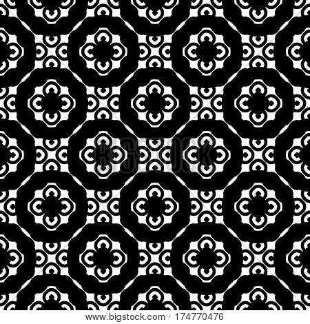 Vector seamless pattern, monochrome floral geometric texture. Simple background with staggered circles, rings. Abstract design for prints, decoration, textile, furniture, cloth. Black & white colors