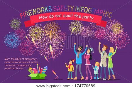 Fireworks safety infographic. How do not spoil the party. Vector illustration of people looking at sky with bright pyrotechnics, green box of fireworks set on ground and text information on violet