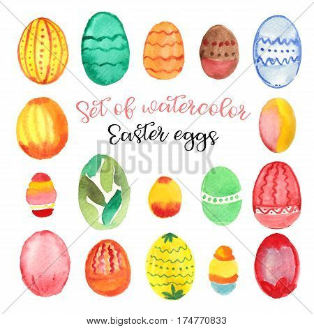 Set of watercolor Easter eggs in different colors on white background. Easter symbol. Vector illustration