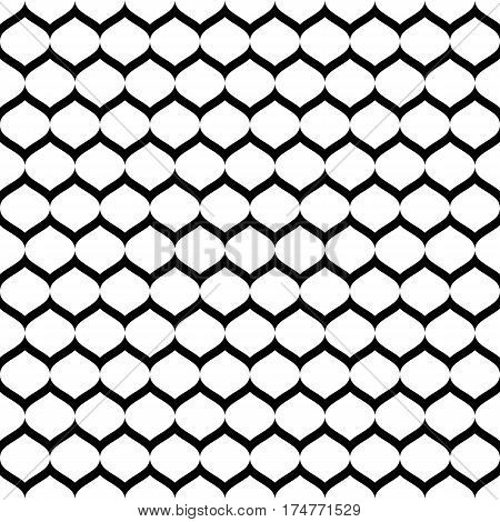 Vector monochrome seamless pattern, simple black & white geometric texture, illustration of mesh, smooth lattice, tissue structure. Repeat abstract background. Design for prints, textile, decoration, digital, web
