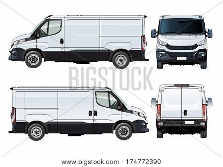 Vector van template isolated on white. Available EPS-10 separated by groups and layers with transparecy effects for one-click repaint