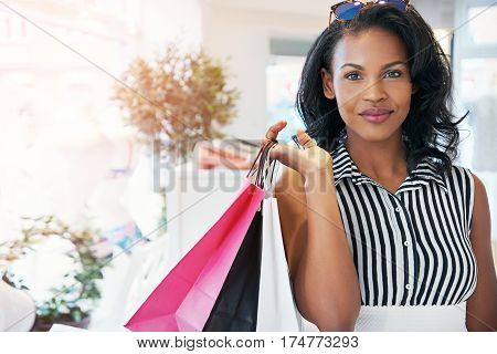 Attractive Chic African Woman Shopping For Clothes