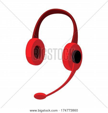 Headphones icon in cartoon design isolated on white background. Personal computer accessories symbol stock vector illustration.