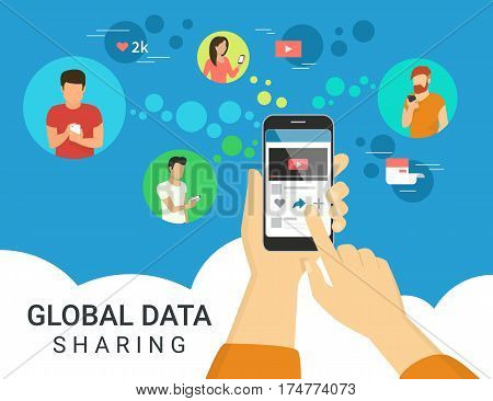 Global data sharing data concept illustration of young people using mobile smartphone to share posts and news in social networks. Flat human hand holds smart phone to make repost of video and news