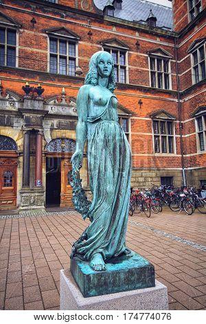 HELSINGOR DENMARK 14 JUNE: Bronze statue of Ophelia Elsinor Castle Helsingor Denmark in 2012