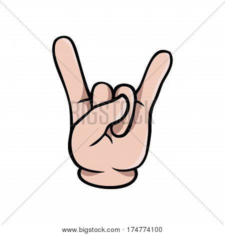 Human cartoon hand showing the metal sign or sign of the horns