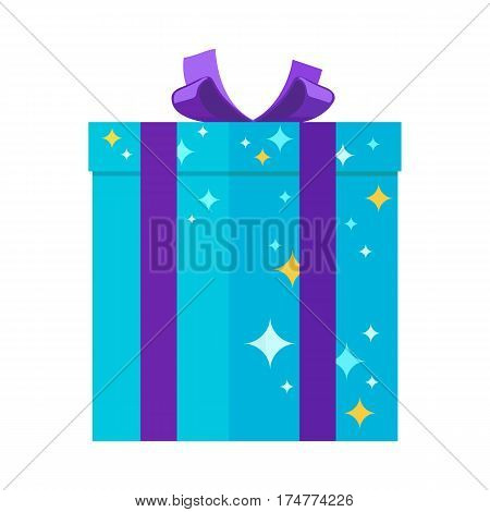 Gift box isolated vector illustration. Present giftbox for festivals in blue colors with stars and big purple bow. Pyrotechnic device as present inside for holiday celebrations, entertainment purposes