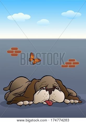 illustration of a lazy brown puppy dog on outdoor background