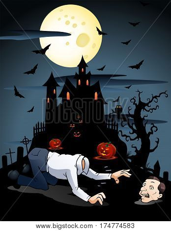 illustration of an adult man afraid loses his head on scary background