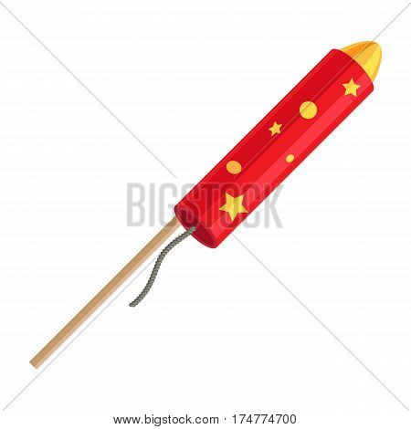 Rocket pyrotechnic firework made out of paper tube packed with gunpowder, propels itself into air in order to fly. Vector in cartoon style red exploding rocket with golden stars isolated on white