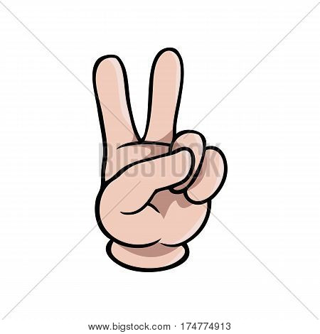 Human cartoon hand showing two fingers or the peace symbol