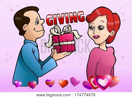 illustration of a girl happy gets present from a boy offering gift
