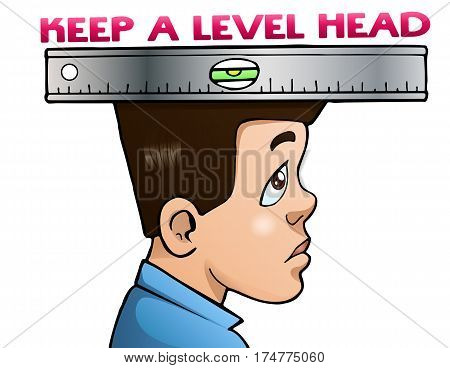 illustration of an adult man keeps a level head