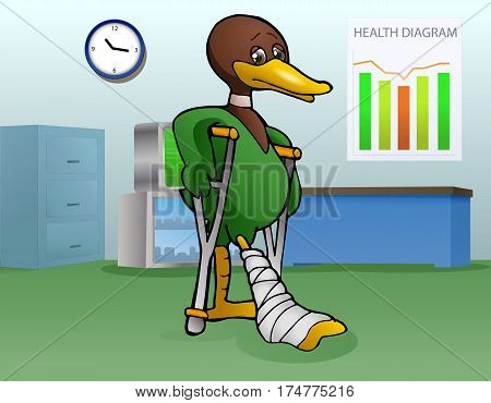 illustration of a lame duck using crutch got injury to leg on hospital room background