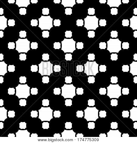Vector monochrome seamless pattern, simple geometric texture white figures on black backdrop, rounded octagons. Abstract repeat background for tileable print. Design for decor, textile, fabric, cover, prints