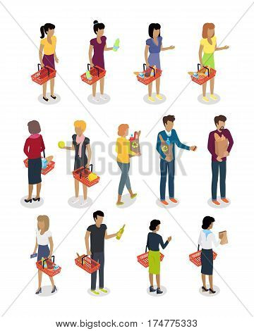 Shopping people vector illustrations set. Buying food and daily products isometric concepts isolated on white background. Man and woman character template with shopping baskets and bags full of goods
