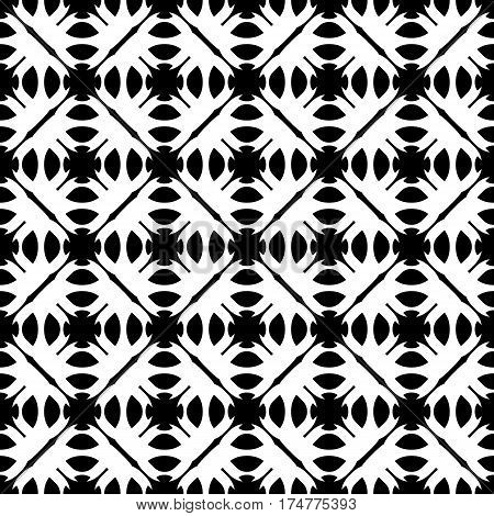 Vector seamless pattern. Abstract monochrome geometric texture. Simple black & white ornamental background with rounded figures. Repeat tiles. Design for decoration, textile, prints, fabric, furniture