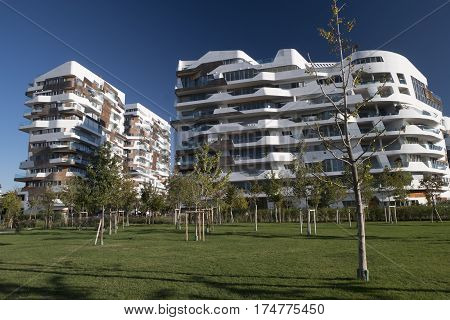 MILAN, ITALY - OCTOBER 4, 2016: Milan (Lombardy Italy): modern residential buildings at Citylife (Tre Torri)