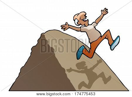 illustration of a succesful running old man over the hill on isolated white background