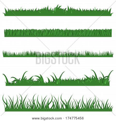 Vector Set Of Green Grass Horisontal Elements