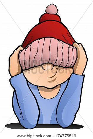 illustration of a smiling boy pulling wool hat over his eyes isolated on white background