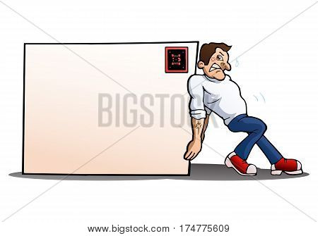 illustration of a man pushing blank big envelope over isolated white background