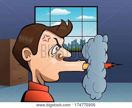 illustration of a angry man shooting his mouth off on office background