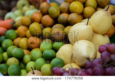 Many fresh fruits mixed. background and textrue