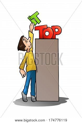 illustration of a happy young boy take it from the top on isolated white background