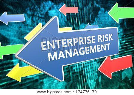 Enterprise Risk Management - text concept on blue arrow flying over green world map background. 3D render illustration. poster