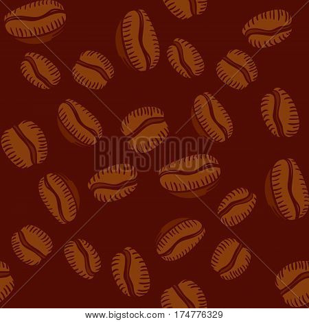 Seamless pattern of hand drawn arabica coffee beans on brown background in scetch style. Vector illustration.