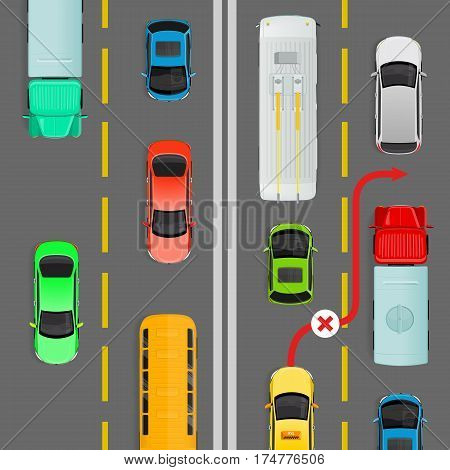 Overtaking in dense traffic flow flat vector illustration. Road rule violation example on top view diagram. Traffic offences concept. Danger of car accident. For insurance company, driving courses ad