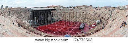 Visitors Watching Workers Who Are Preparing Arena Di Verona