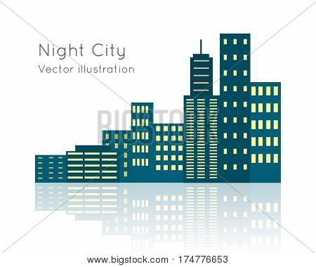 Night city vector illustration on white background. Dark block of flats with switched lights. Buildings situated close nearby each other. Structures has light reflection in flat style cartoon design