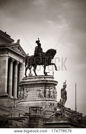 National Monument to Victor Emmanuel II or II Vittoriano in Piazza Venezia, Rome, Italy with sculpture.
