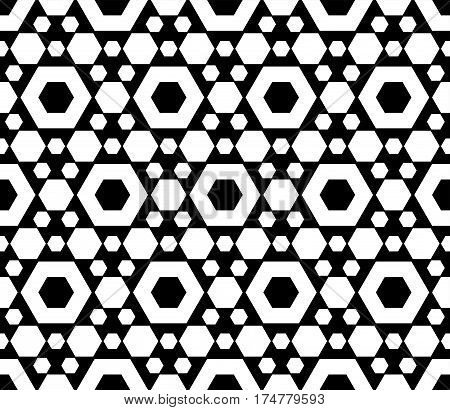 Vector monochrome seamless pattern, repeat geometric texture, black & white hexagonal grid, abstract modern. Background with simple figures, hexagons. Design for prints, decoration, fabric, textile, furniture, home decor