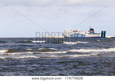 SWINOUJSCIE POLAND - FEBRUARY 21 2017: A car ferry from Polferry on the Baltic Sea.