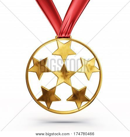 gold medal isolated on a white background 3d illustration
