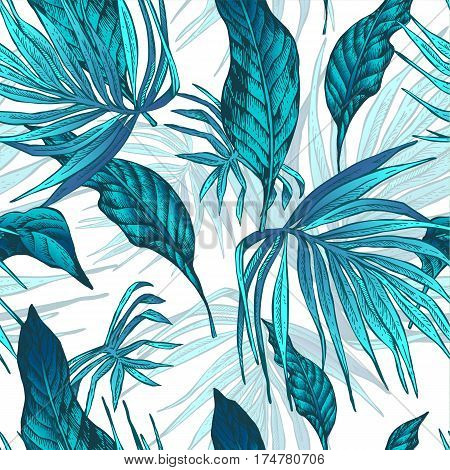 Vector Natural Vintage Seamless Exotic Pattern with Tropical Leaves, Botanical illustration on white background