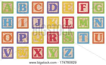 Painted Uppercase Letters In Wooden Blocks Collection (with clipping paths)