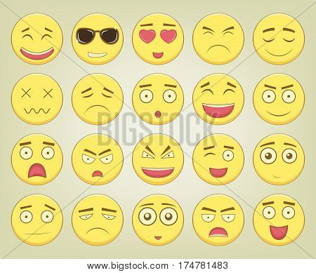 Emoticon set. Emoticon for web site, chat, sms. Modern flat design. Vector illustration