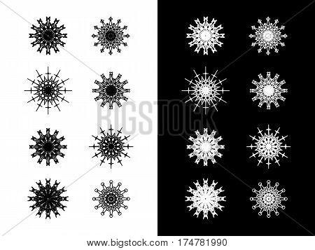 Set of eight round spirograph symbols. Outline kaleidoscope icons flowers stars and snowflakes. Decorative web design elements isolated on black and white background. Can be used as anti stress adult coloring book pages. Vector