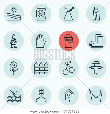 Set Of 16 Agriculture Icons. Includes Sprinkler, Bugbear, Birdhouse And Other Symbols. Beautiful Design Elements.
