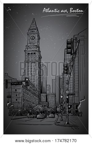 Night panorama of the State street and Custom House Tower in Boston. Cityscape, urban hand drawing. Night life sketch. Editable EPS10 vector illustration.