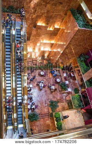 NEW YORK-JULY 24 - The famous escalator and indoor waterfall in Trump Tower on Fifth Avenue as seen on July 24 2015 in Manhattan.