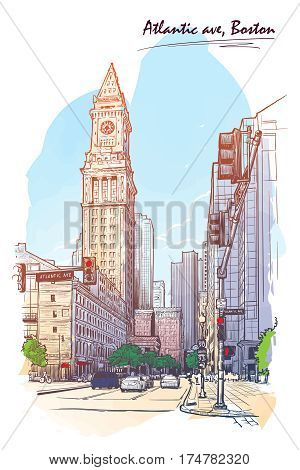 Panorama of the State street and Custom House Tower in Boston. Cityscape, urban hand drawing. Painted Sketch. Watercolor feel. Editable EPS10 vector illustration.