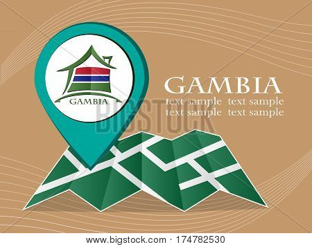 map with pointer flag Gambia vector illustration eps 10.